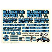 BLOCKHEAD MOTORS デカールシート ブルー/ Decal sheet Blue