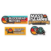 【限定】MASS DAMPER x BLOCKHEAD MOTORS コラボステッカー4枚セット