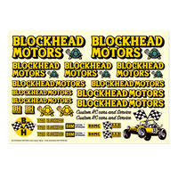 BLOCKHEAD MOTORS デカールシート イエロー/ Decal sheet Yellow