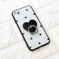 【iPhone6plus/6S plus】リング付き黒ハートケース