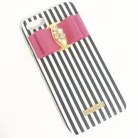 【iPhone6/6s】ピンクリボンストライプ柄ケース