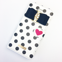【iPhone7 plus/8 plus】ドット柄手帳型ケース