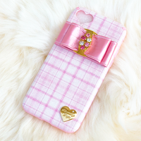 【iPhone X/XS】レザーリボンピンクチェックケース