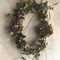 Antique hydrangea oval wreath (アンティーク紫陽花のオーバルリース)