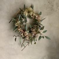 Pink annabelle & eucalyptus wreath (ピンクアナベルとユーカリのリース)