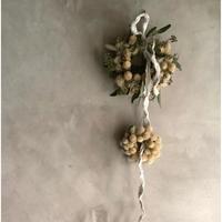 Dried Sen-Nichi-Ko 2-Separate Wreath (千日紅の2連セパレート リース)