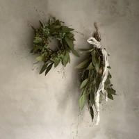 Dried green wreath & green swag (グリーングリーン ミニリース&スワッグ)