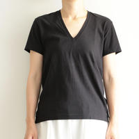 AURALEE / SEAMLESS V-NECK TEE(lady's/ BLACK)