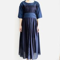 COSMIC WONDER /Organic cotton front tuck dress (lady's /RYUKYU INDIGO)