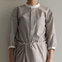 COSMIC WONDER /   Light linen mandarin collar shirt(lady's/GRAY STRIPE )