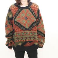 Psychedelic Pattern Wool Knit Sweater
