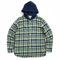 HOODED CHECK SHIRTS  / GREEN  / 13B19SH08SA