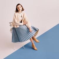 エコレザープリーツスカート  c/#PALE BLUE  75688-165