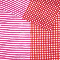 手拭い【 縞々格子 】薔薇色 × 橙