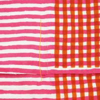 手拭い【 縞々格子 】薔薇色 × 橙  ★縦糸のつれ