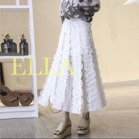 Lace A line skirt/WHT