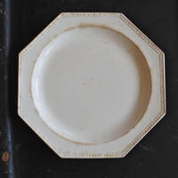 CREIL (クレイユ) 19世紀 菱形装飾オクトゴナル プレートφ24.5cm