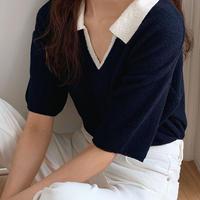 【即納】bi-color neck tops