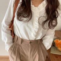 【即納】frill classic blouse