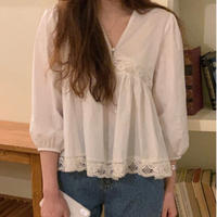 【即納】cotton lace blouse