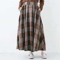 [1936sk]チェック柄ボリューム起毛スカート