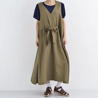 [1303op]綿麻ウエストリボンワンピース