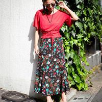 [0852sk]エキゾチックフラワー柄 ロングスカート