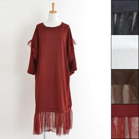 [0878op]裾チュールレースワンピース