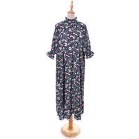 [1030op]ボタニカル花柄プリント7分袖ワンピース