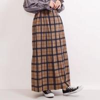 [1927sk]フェルトアコーディオンプリーツ入りチェック柄ロングスカート