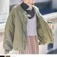 [1975ot]ノーカラーキルティングジャケット