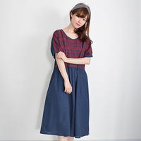 [1267op]ナチュラル刺繍半袖タックワンピース