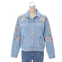 [0554ot]花刺繍デニムジャケット