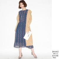 [1661op]ジプシーフラワー 7分袖ワンピース