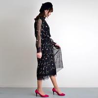 [0677sk]花刺繍シフォンプリーツスカート