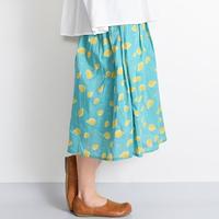 [0815sk]ラフランス柄タックミディスカート