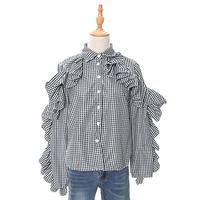 [0769tp]ボリュームフリルチェックシャツ
