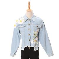 [0710ot]お花刺繍ワッペンダメージデニムジャケット