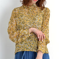 [1165op]シースルー花柄ポロカラーブラウス