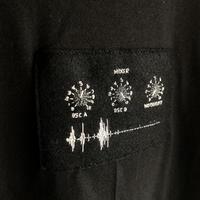 刺繍する犬 /Geek handstitch T-shirt アナログシンセパーツ筐体+波形刺繍