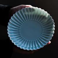 物色 / 菊皿 |青白磁 ブルーグレー