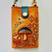 本革 カードケース Mushrooms and Bird/やじましょうこ