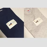 刺繍する犬 /SoundCloud風 音の波形刺繍 Tシャツ 2-Color