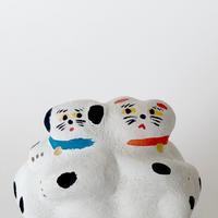 habotan / 背中合わせ犬と猫 |土人形 D3