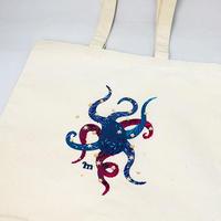 プリント刺繍 トートバッグ [ダンシングオクトパス]/ 山口 マナビ