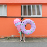 Big  Knit Donut ビッグドーナツ  [ Light Purple × Yellow] NO.3/203gow