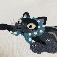 山口 マナビ / プリント刺繍 トートバッグ  泥棒猫[キャリコカラー]