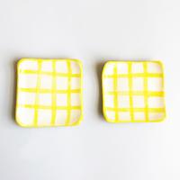 近藤 南 / 即興食器 豆皿 黄色チェック 2枚セット