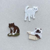 83SELECT / 気ままなポーズの猫ワッペン&シール|3-Type