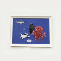 額ブち「海底戦」 スキューバーねこのブローチ + 怒りタコの額/吉丸睦 Mutsumi Yoshimaru